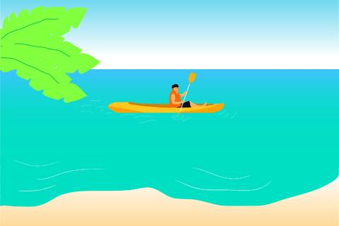 Algarve kayaking cartoon.