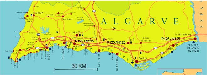 East-west-algarve map