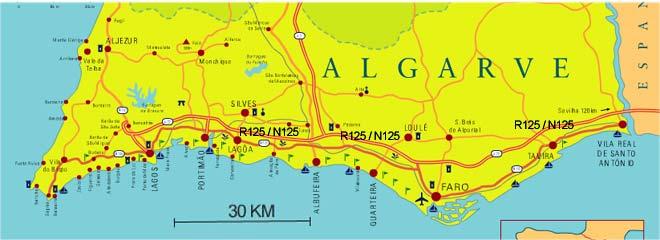 East-west-algarve map