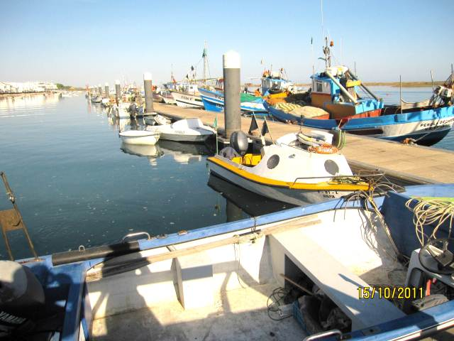 Cabanas fishing boats in the Algarve Portugal