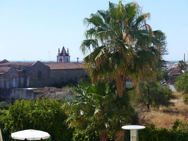 Tavira Palm and Church with Atlantic ocean